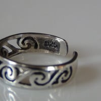 Adjustable Swirl Toering 925 Sterling Silver Tribal Toe Knuckle Stacking Ring Band Beach Jewelry Unisex Surf Ring