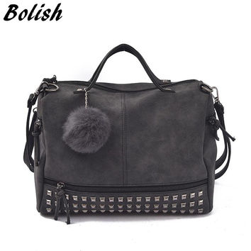 Vintage Nubuck Leather Top-handle Bags Rivet Larger Women Bags All-match Hair Ball Shoulder Bag Motorcycle Messenger Bag
