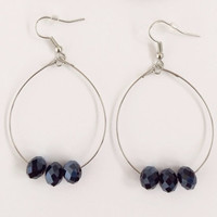 Simple Black Bead Hoop Earrings