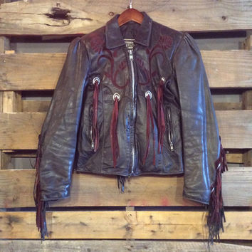 Vintage Small Dallas Premium Leather Maroon on black fringe with conches natural distress motorcycle jacket
