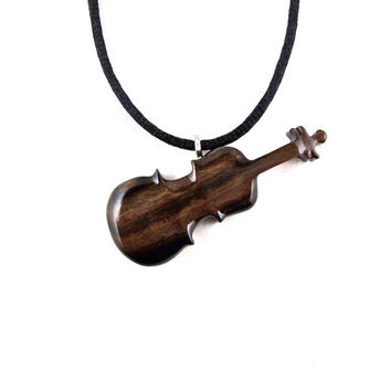 Violin Pendant, Violin Necklace, Wooden Violin Pendant, Violin Jewelry, Wood Violin Necklace, Wood Jewelry, Hand Carved Violin, Wood Pendant
