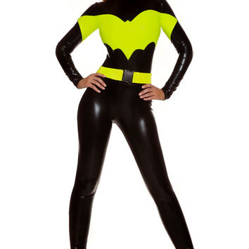 Sexy bat superhero costume includes mock neck metallic cat suit with matching accessories.