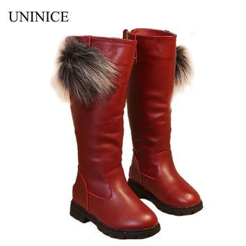 Girls Fashion Boots Winter Leather Knee High Boots Flat Heel Red Black White Princess Style Fur Lined Size 26-36 Kids Snow Boots