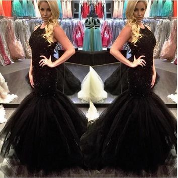 2016 Black Mermaid Prom Dresses Long Jewel Neck Sleeveless Pearls Beaded Custom Made Tulle Court Train Pageant Dress