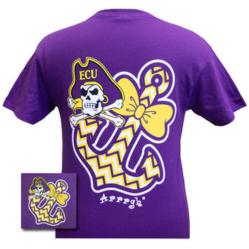 ECU East Carolina Pirates Anchor Bow Girlie Bright T Shirt