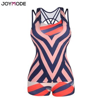 JOYMODE Blue and Orange Striped Swimwear Women Printed Tankini With Boyshort Plus Size  Bathing Suits 3 Pieces Swimsuit Set