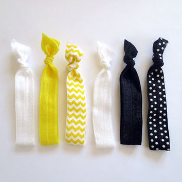 Bumble Bee Set of (6) Six No Dent Elastic Hair Tie Bracelets Midnight Black Sunshine Yellow and Bright White Polka Dot Chevron Bright Colors