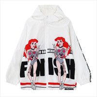 White Ariel Print Hooded Jacket