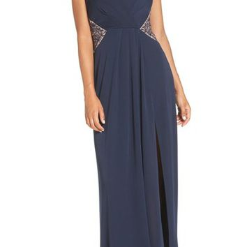 BCBGMAXAZRIA 'Hasani' Embroidered Mesh & Crepe Gown | Nordstrom