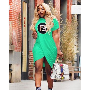 Fendi New fashion bust letter sequin irregular short sleeve dress women Green