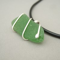 Green Sea Glass and Sterling Silver Pendant. Large Glass and Wire Necklace. | The Silver Forge Handcrafted Jewellery