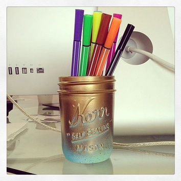 Neon Aqua Ombre Gold Mason Jar - Hand Painted - Super Unique One of a Kind Spring Bright Colors Chic Luxury