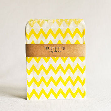 Paper Bags in Yellow Chevron Stripes - Set of 20 - 5x7 Party Favor Kraft Gift Wrapping Packaging Embellishment Sacks Merchandise