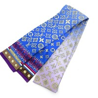 Auth Excellent Louis Vuitton Bandeau Scarf 100% Silk Blue Purple Box 45291 B