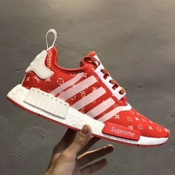 Adidas x LV NMD R1 Reflective Fashion Trending shoelace Running Sports Shoes Red G