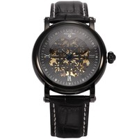Ks Royal Carving Clover Black Automatic Mechanical Skeleton Mens Leather Wrist Watch KS119