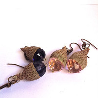 cute little real acorn capped beaded earrings,you pick the color