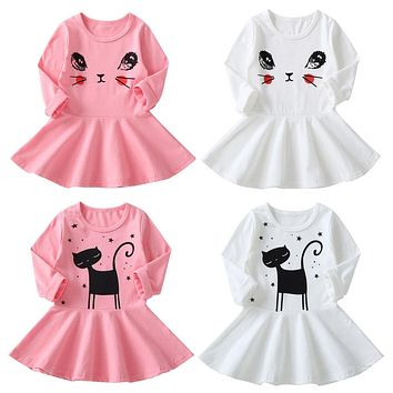 New Fashion Fall Winter Cat Print Children Long Sleeve Cartoon Baby Girl  Cotton Party Dresses for 68427a388