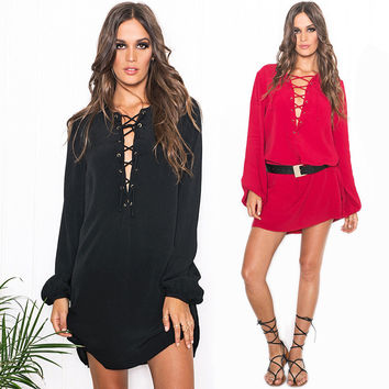 Women's Fashion Casual Long Sleeve Summer Dress One Piece Dress [6281599620]