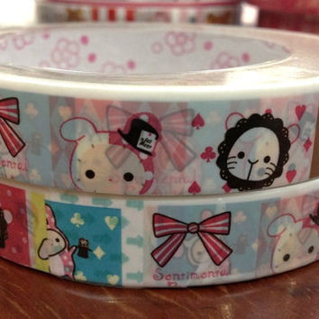 San-x deco tape stickers - white Sentimental Circus DT419 rabbit