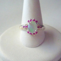 Genuine Rubies & Ethiopian Opal Ring Sterling Silver .925