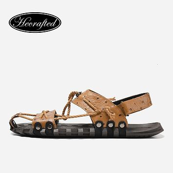 Sandals Men He Crafted Fashion Summer Genuine Leather Male Sandals