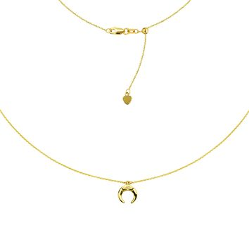 "Half Moon Choker 14k Yellow Gold Necklace, 16"" Adjustable"