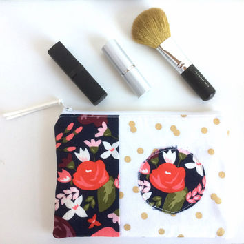 Patchwork Zipper Pouch, Small Makeup Bag, Floral Zipper Pouch, Polka Dot pouch