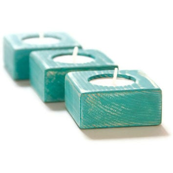 Candle Holders Shabby Chic Teal Wedding wooden Tea Light set of 3