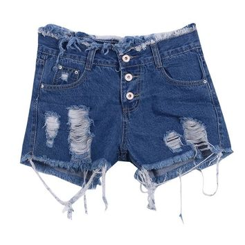 Hot Shorts Women Ladies Girl Hot  Stretch Faded Ripped Slim Hole Fit Skinny Denim Jeans  Size UK 6 8 12 14AT_43_3
