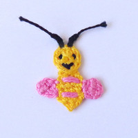 Crochet Bee Or Bumblebee Applique 2pcs - From Cotton Yarn- Crochet Supplies For Clothing, Hair Clips, Handbags