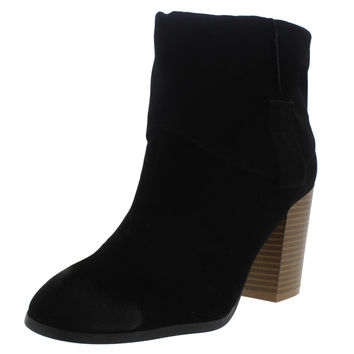 Qupid Womens Wagon Faux Suede Stacked Heel Ankle Boots