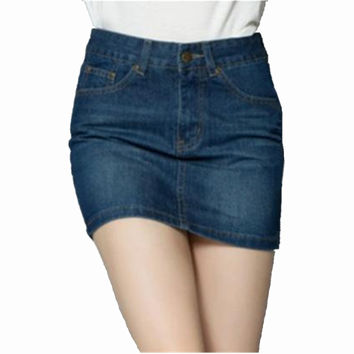 Trend Sexy Package Hip High Waist Womens Skirts  Summer Vintage Slim Jeans Pencil Denim Mini Skirts Faldas Mujer DH727