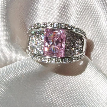 Vintage Pink Topaz and Pave Bridge Ring, Sterling Silver, Modern Radiant Emerald Cut Pink Topaz, Pave Diamond CZ, Spectacular Statement Ring