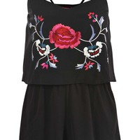 Poppy Embroidered Double Layer Playsuit