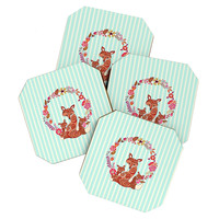 Monika Strigel Fox And Flowers And Blue Stripes Coaster Set