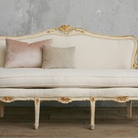 Vintage Shabby Chic Cream Gilt Louis XV French Style Settee Sofa