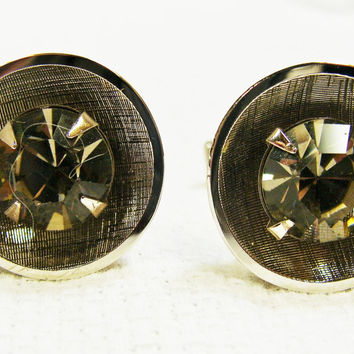 Vintage Cuff Links Silver Tone Circles with Rhinestones