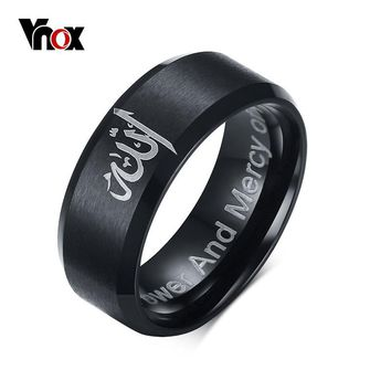 VNOX Fashion Black Muslim Allah Ring 8MM Stainless Steel Ring Men Jewelry with Matte Finished US Size 6 to 13