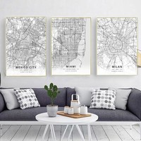 Modern Famous World City Map Mexico Miami Milan City Poster Nordic Living Room Wall Art Picture Home Canvas Painting