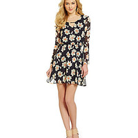 Sugarlips The Daisy Floral-Print A-Line Dress - Navy/Floral