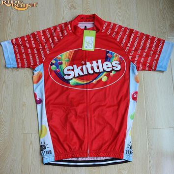 RIDE POINT Red Skittles Cycling Jerseys Maillot Ciclismo Summer Short Sleeve Mens 100% Polyester Breathable MTB Cycling Clothing