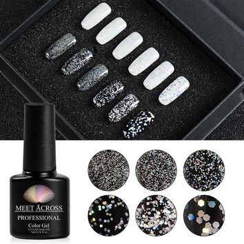 MEET ACROSS 7ml Silver Holographic Glitter Gel Soak Off UV LED Lamp Gel Polish Shiny Diamond Varnish Gel Nail Art Lacquer