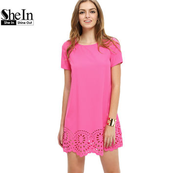 SheIn Summer Fashion Hot Pink Hollow Out Shift Dresses Womens Round Neck Short Sleeve Casual Short Straight Dress