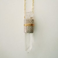 Leather Wrapped Raw Crystal Necklace - Metallic Silver and Gold -Raw Stone Necklace - Icy
