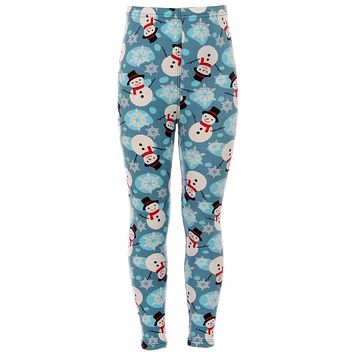 Girl's Snowman & Snowflakes Pattern Printed Leggings