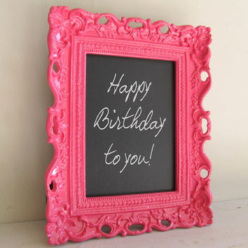 Framed CHALKBOARD Sign Hostess Gift Birthday Party Decoration Gift for Her Bright Colors Pink Aqua Teal Yellow - MORE COLORS