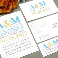 Typography Dots | Modern Wedding Invitation Suite by RunkPock Designs | Initials Monogram Poster Style Bold Invitation Design | shown in turquoise, golden yellow, raspberry maroon