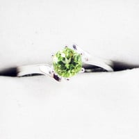 Peridot Bypass Solitaire Ring - Sterling Silver