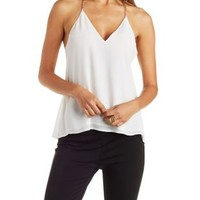 Ivory Caged Chain-Strap Chiffon Tank Top by Charlotte Russe